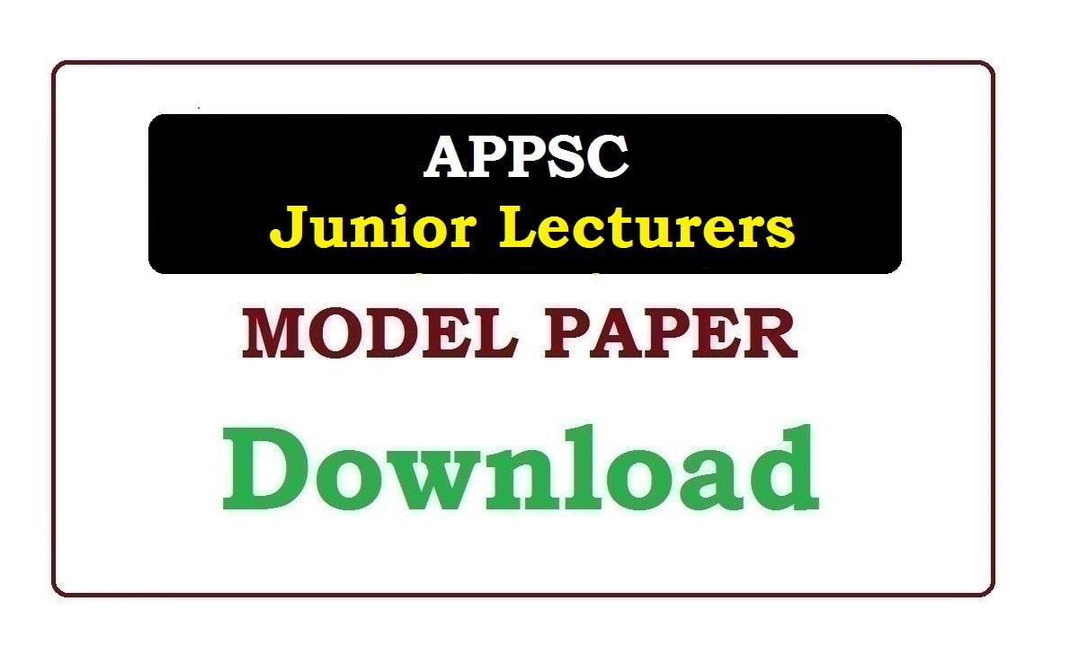 APPSC Jr Lecturer Model Paper 2020